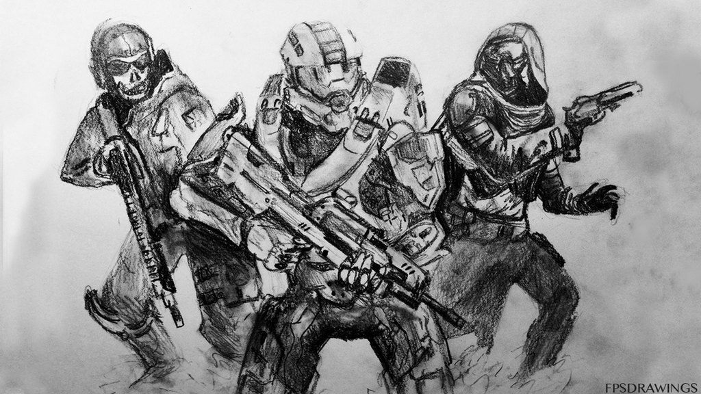 drawing of halodestiny and cod combined by fpsdrawings