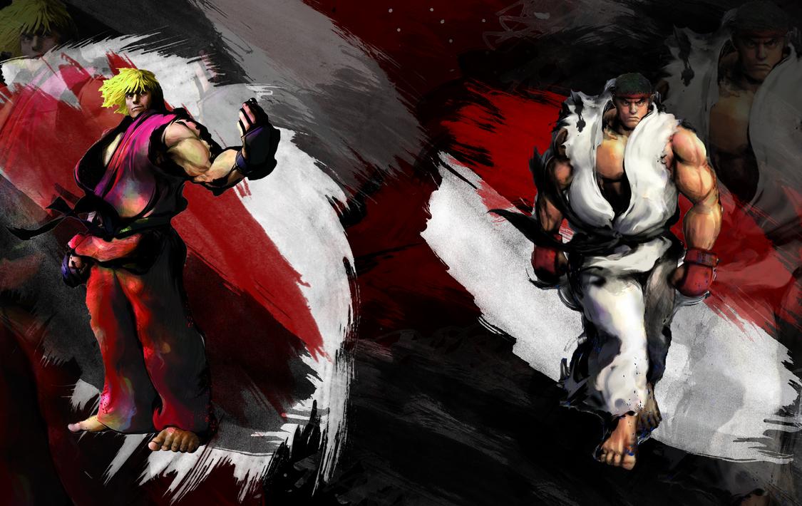 SFIV: Ken vs Ryu 1900 x 1200 by Nesk01