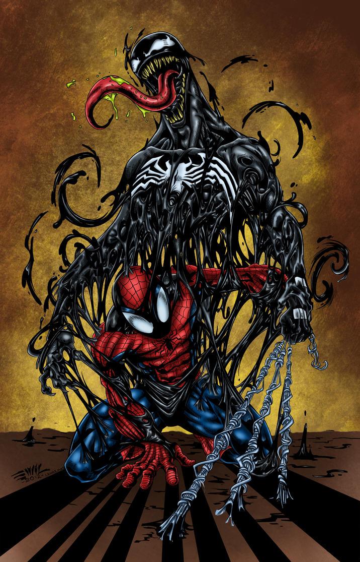 Spider-Man with Venom Colored by likwidlead on DeviantArt