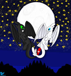 Furys Love / Night fury and Light Fury by SonicTHW93