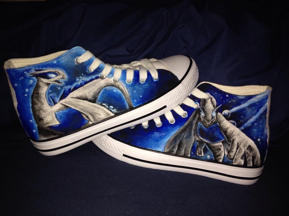 Lugia handpainted Shoes by LaraWegenaerArts