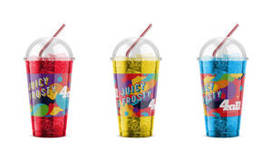 PLA cup ice water label  / client: 4all stores