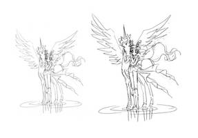 Super Sailor ChibiMoon and Helios-as-Pegasus (Mate