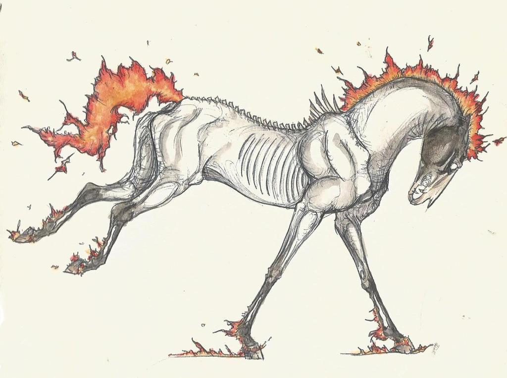 Flaming Zombie Horse by LabradoriteEyes on DeviantArt