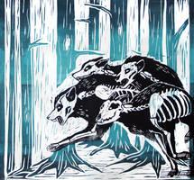 bone pack linocut by helterbraegen