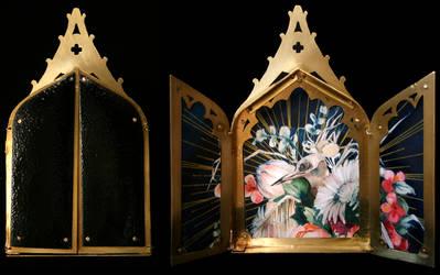 colaptes auratus triptych by helterbraegen