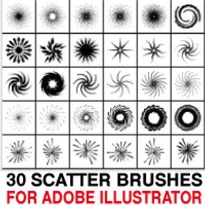 30 scatter brushes for Illustrator by Brushportal