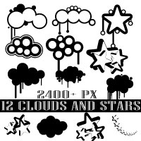Drippy clouds and stars Photoshop brush pack by Brushportal