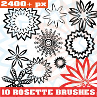 Rosette Floral Photoshop Brushes by Brushportal