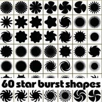 60 free star burst Photoshop shapes by Brushportal