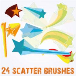 3D Stars Scatter Brushes for Illustrator by Brushportal