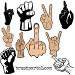 Hands and fingers gestures Photoshop brushes