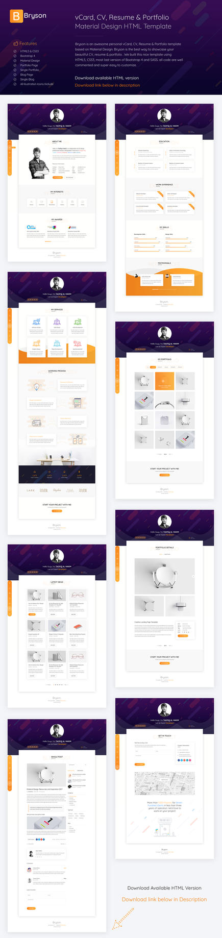 bryson vcard cv resume portfolio template by arahimdesign