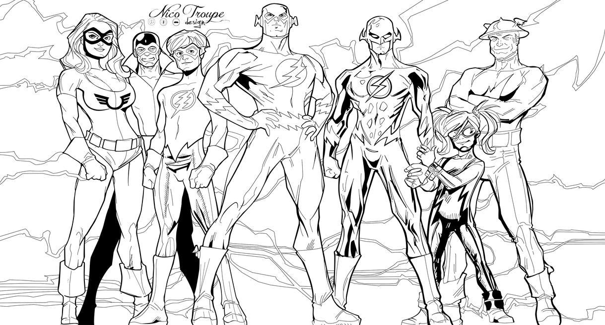The Flash Line Art : Flash family line art by trouperdnico on deviantart
