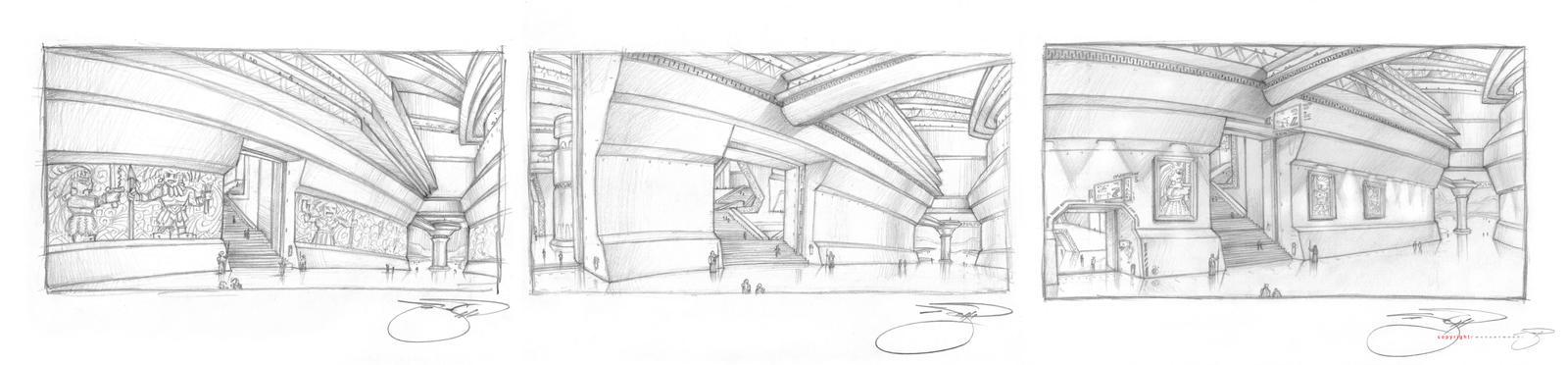 Gargan Grand Corridor Sketches by mavartworx