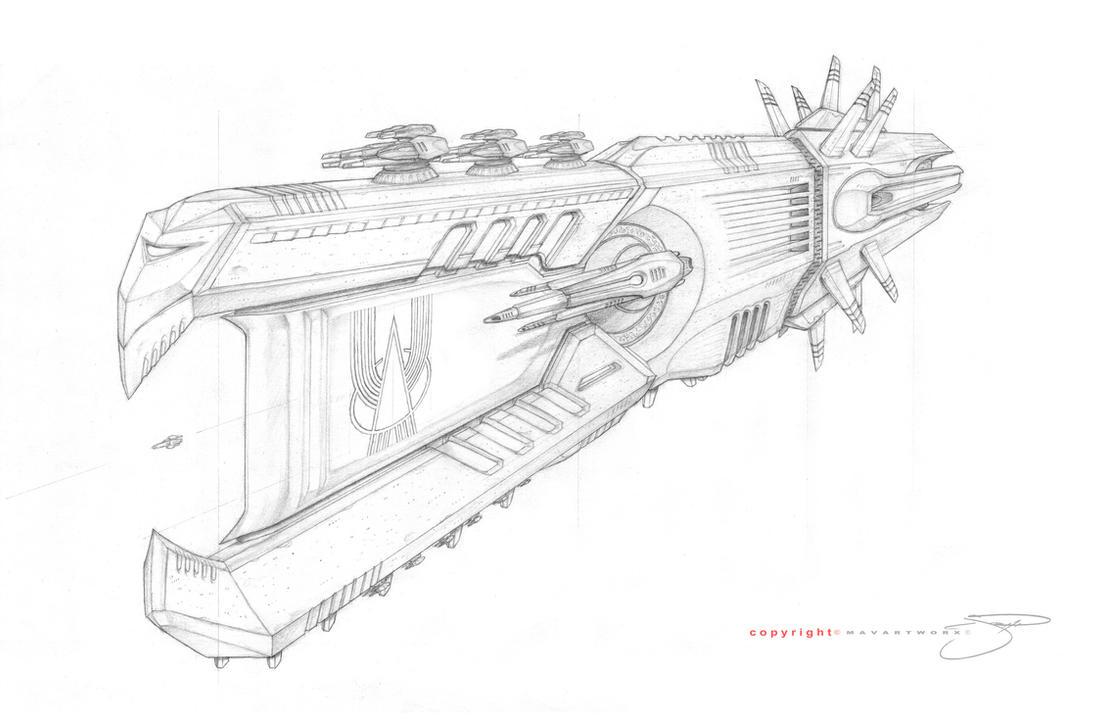 Gargan Battle Ship View I by mavartworx