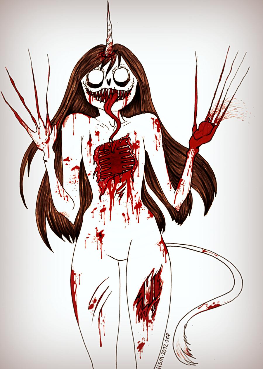 Scary Unicorn Monster by Grjon on DeviantArt