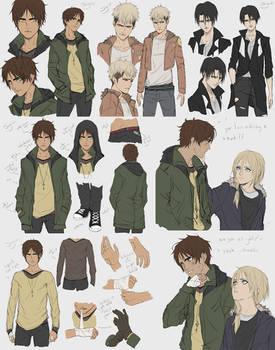 AoT Zombie AU Concept Sketches