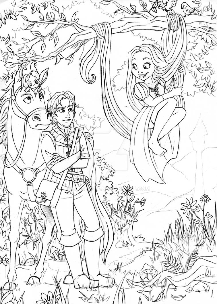 Tangled Outlines By Daishota On Deviantart