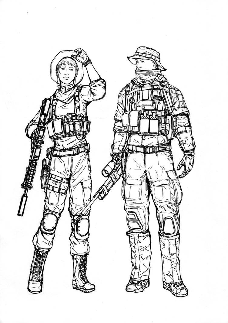 BF4 USMC Recon class (line art) by ThomChen114 on DeviantArt