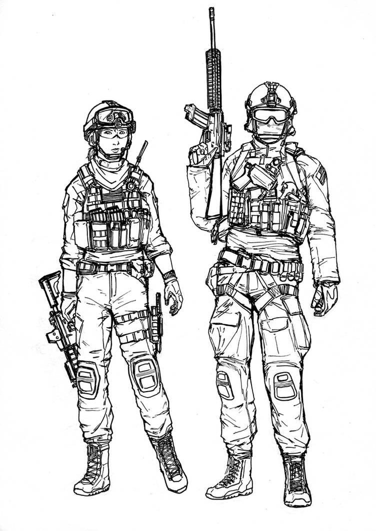 BF4 USMC Assault class (line art) by ThomChen114 on DeviantArt