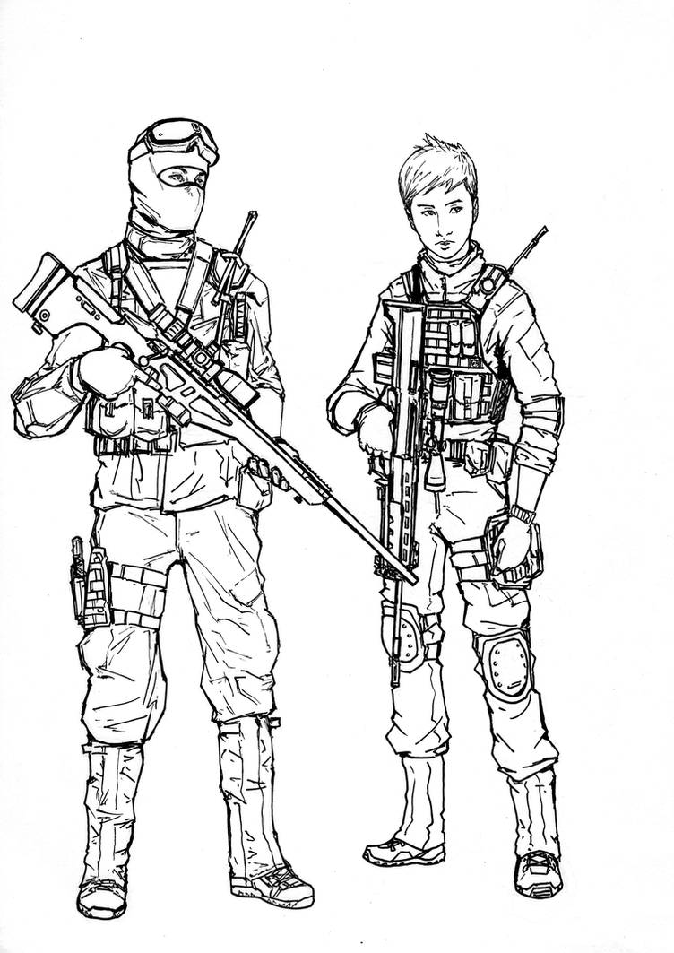 BF4 PLA Recon class (line art) by ThomChen114 on DeviantArt