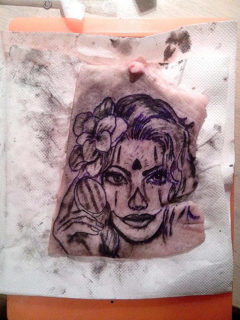 Tattoo om pig skin finished by deadthomas on deviantart for Pig skin tattoo