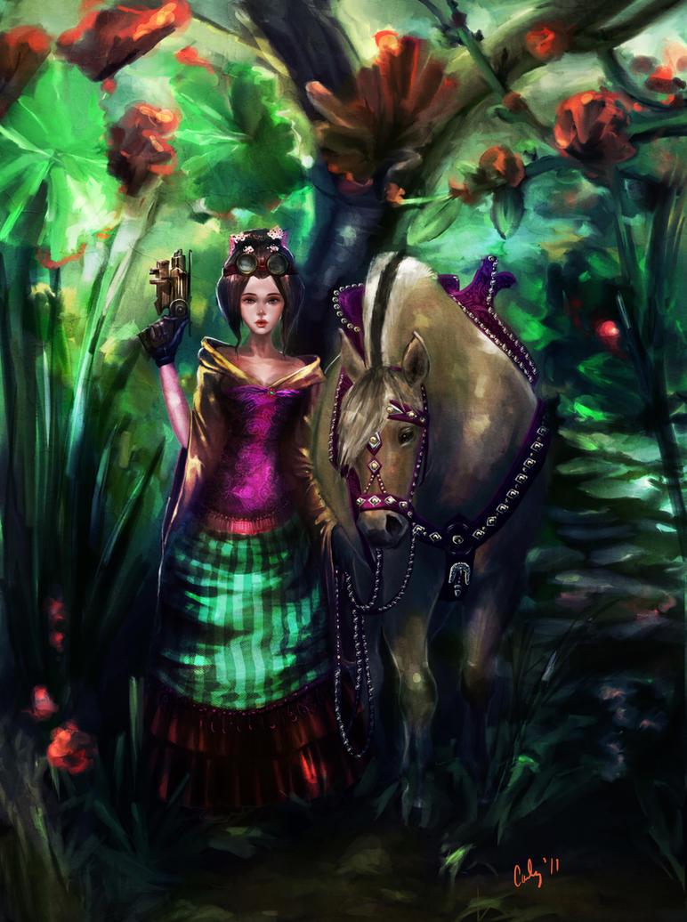 Steampunk Geisha With Fjord by carlylyn