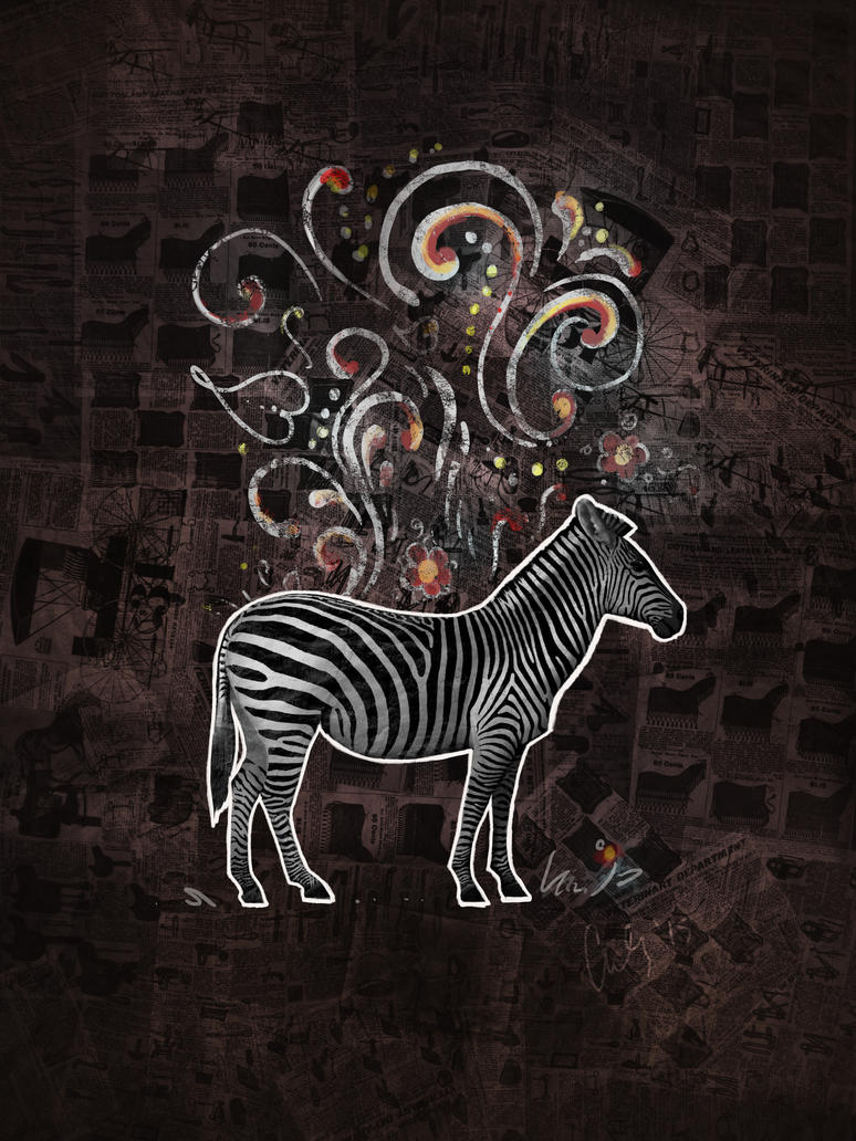 Zebra Collage with Rosemaling by carlylyn