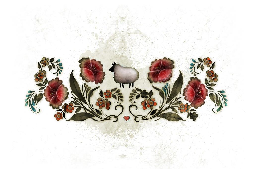 Sheep Rosemaling by carlylyn