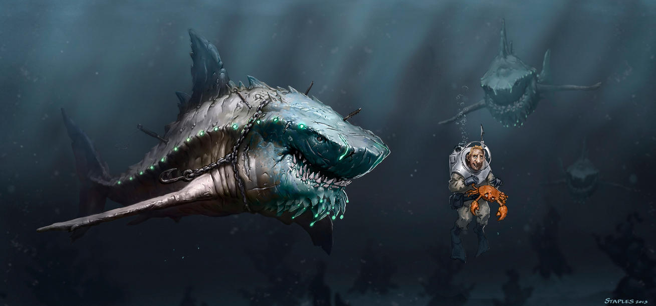 Shark vs Diver by StaplesART