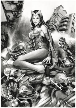 Scarlet Witch vs the Ultron army (For Sale at 450)