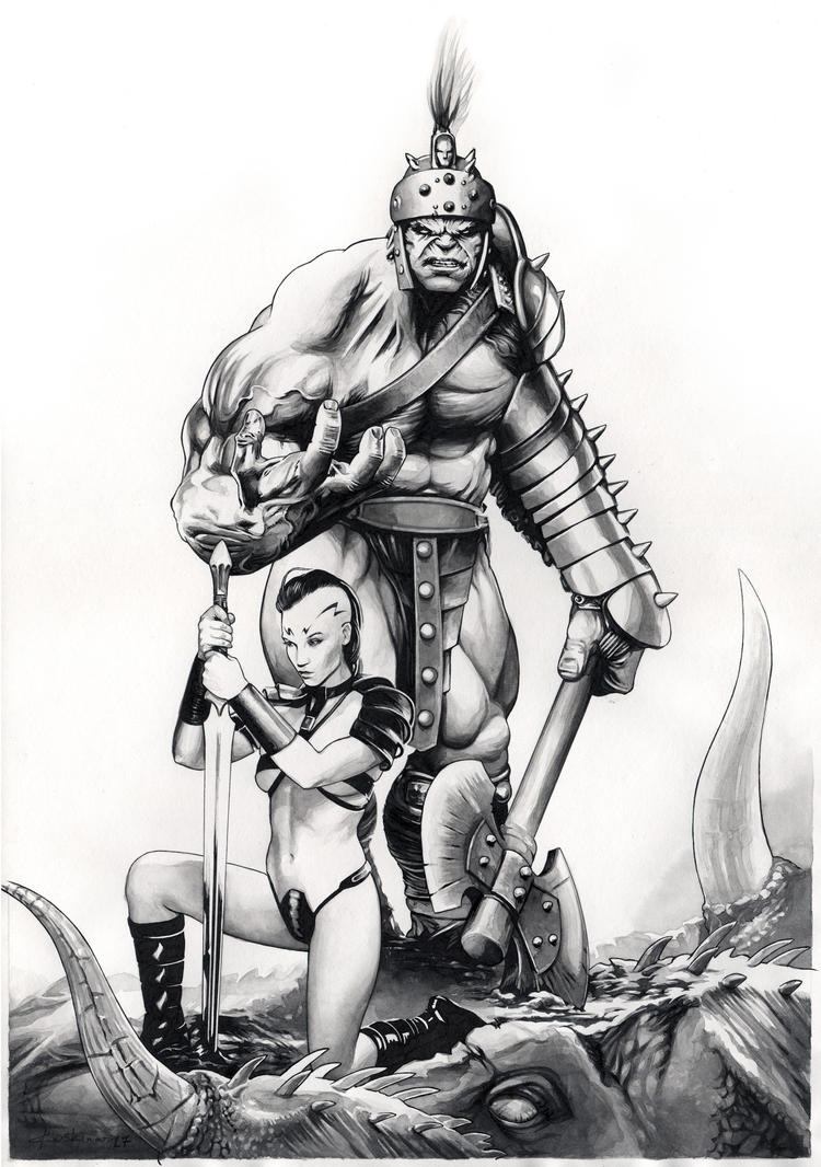 Planet Hulk: Hulk and Caiera by dimitriskoskinas