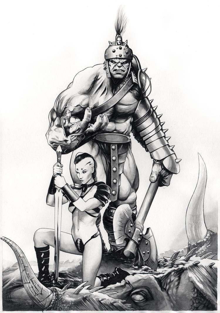 Planet Hulk: Hulk and Caiera by dimitriskoskinas