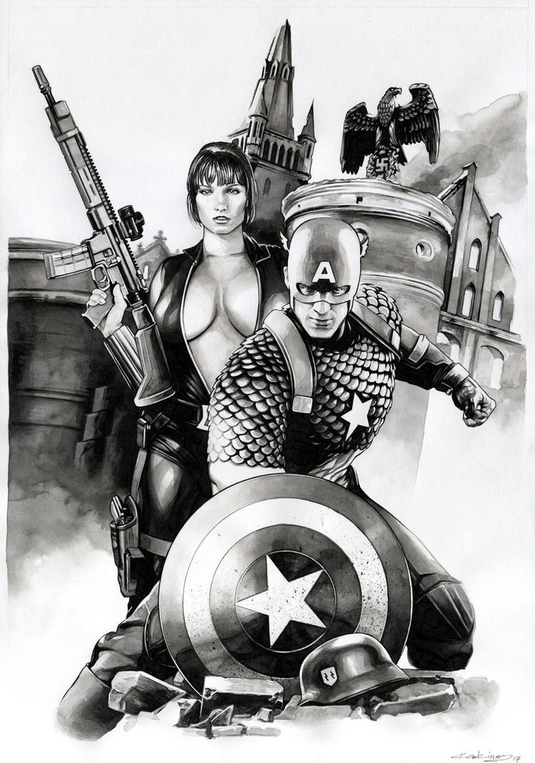 Cap and Natasha Team Up / SOLD by dimitriskoskinas