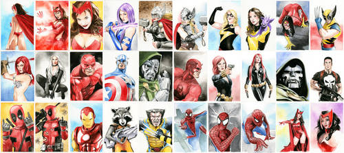 Marvel Postacards for Comicdom Con Athens by dimitriskoskinas