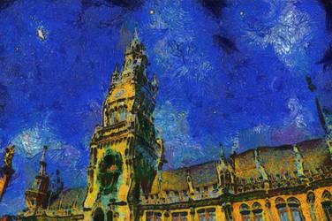 Marienplatz Starry Night by Theophobus
