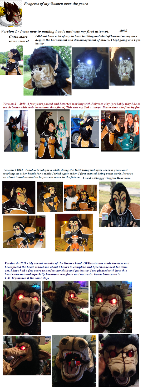 Oozaru Cosplay progress over the years by NeoNegaton
