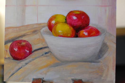 Apples in bowl wip