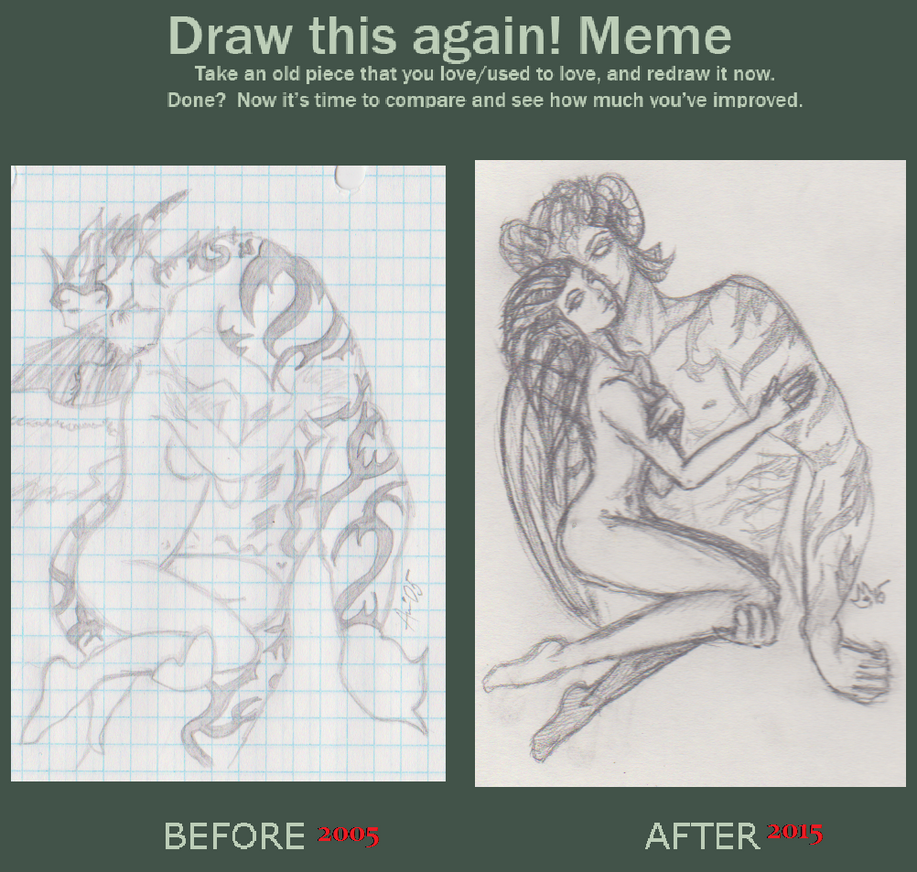 sketch art 2005vs2015 by roxiehurt