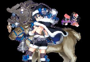 Render Blue Girl Christmas by GothicxStyylee