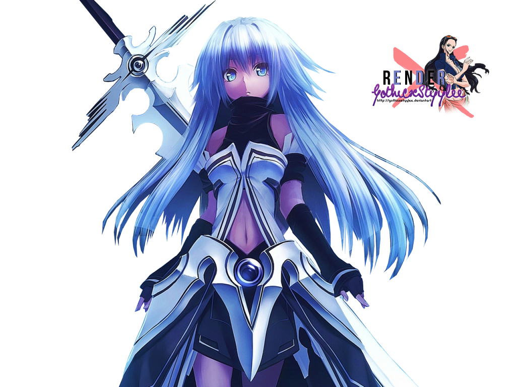 Blue haired anime girl with sword
