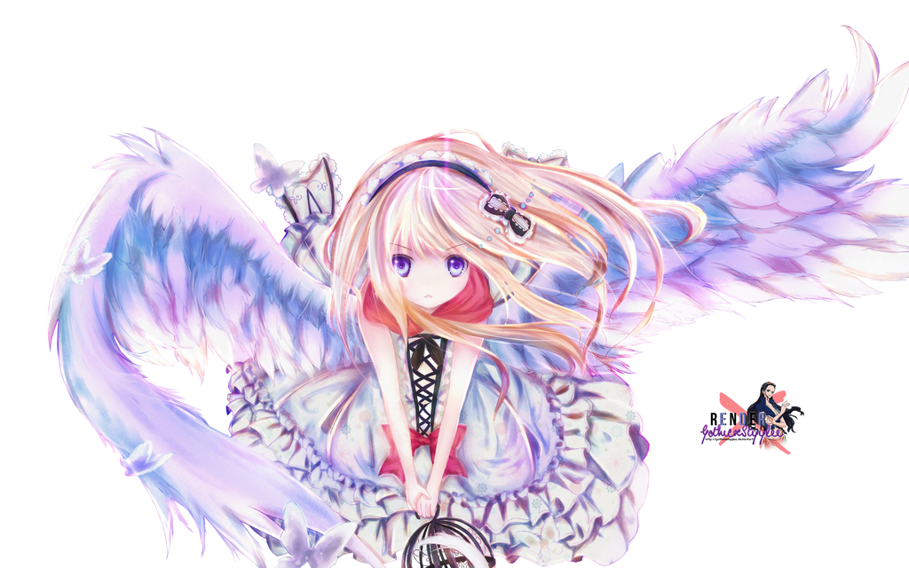 Render Angel Girl x Butterfly by GothicxStyylee