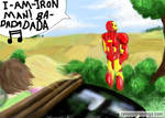 Iron man taking a pee