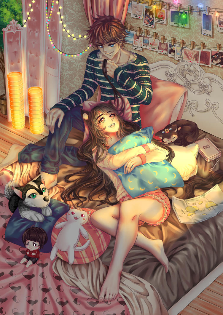 Relaxing on the Bed Together by D-Autriche