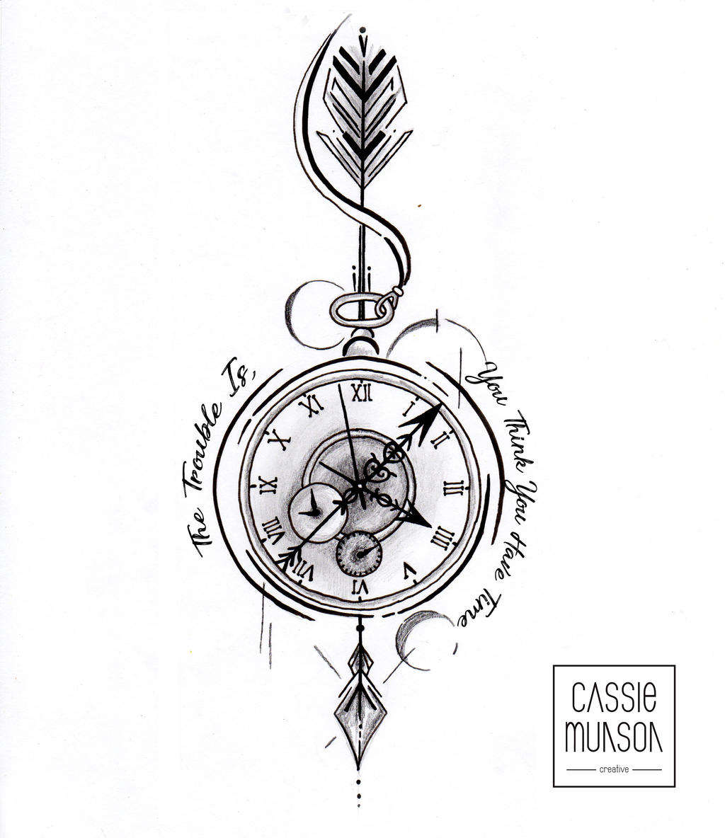 Pocket Watch Drawings: Pocket Watch Tattoo Commission By Cassiemunson-art On