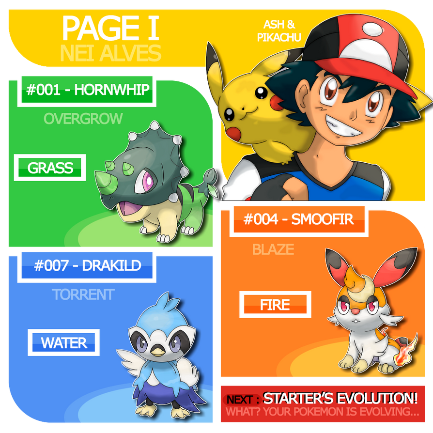 page i ash pikachu and carific starters by nei7alves