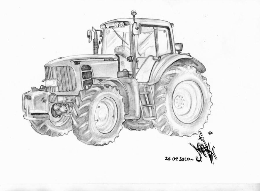 Line Drawing Tractor : John deere by spiderq on deviantart