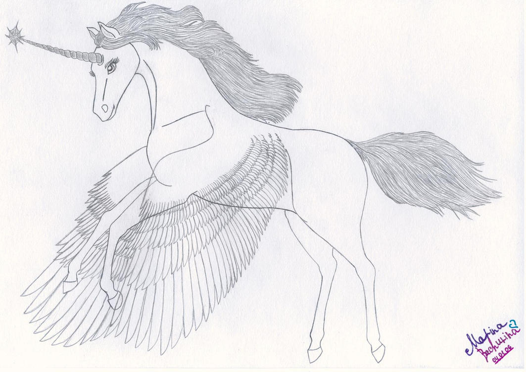Unicorn With Wings Coloring Page Download