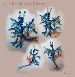 Ice blue beaded wire-dragon